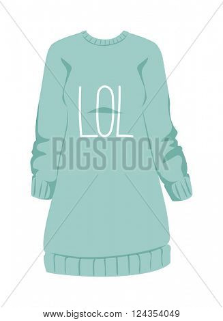 Female sweatshirt blue style hoodie and warm cotton jumper clothing design flat vector illustration.