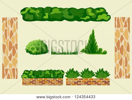 Set for landscaping. Different options of masonry and garden plants. All objects are grouped. Vector. Horizontal.