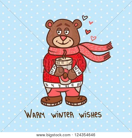 Cute Illustration Of Christmas Teddy Bear, for xmas design. Funny Merry Christmas background.