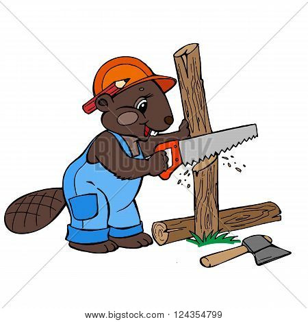 a beaver dressed in work clothes, chopping wood vector illustration. Children illustration