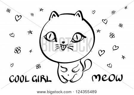 Cat with text meow bubble clear vector art