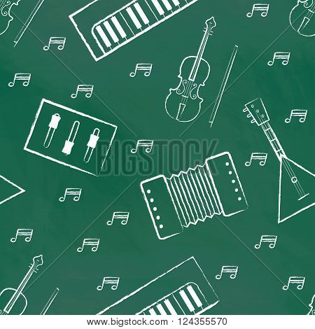 Seamless pattern green chalk board with white children's chalk drawings. Hand-drawn style. Seamless vector wallpaper with the image of musical instruments  piano, balalaika, mixer, violin bow, note