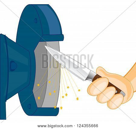 Hand of the person whets knife on tool on white background