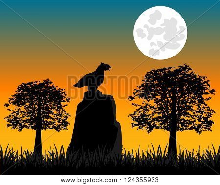 The Night in wood and silhouette hollered on.Vector illustration