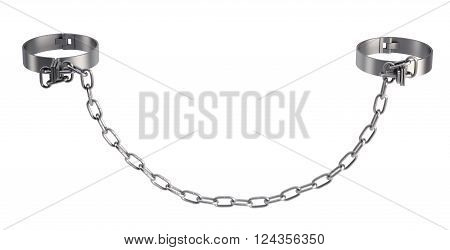 Cuffs with chain isolated on white background. 3D illustration