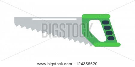 Hand saw tools hand equipment flat vector isolated on white background.