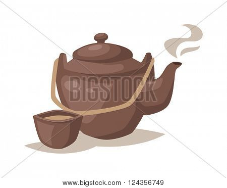 Vector gray china cartoon teapot and cup with hot tea drink.