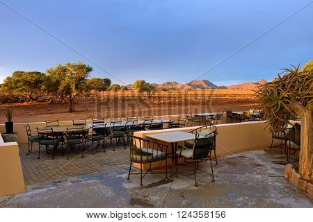 Outdoor Cafe In Lodge. Travel Africa