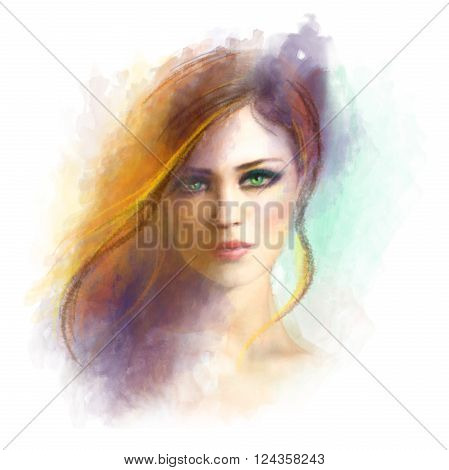 Beautiful woman face. Abstract woman portrait. Summer illustration