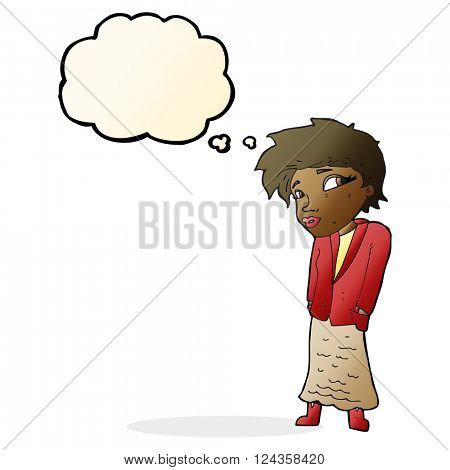 cartoon woman with hands in pockets with thought bubble