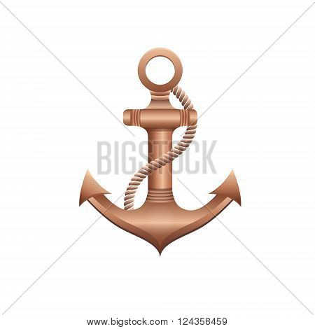 Vector illustration of nautical bronze anchor on a white background. Illustration in a nautical style. Realistic anchor. Vector background for cards, invitations, banners, web-sites.