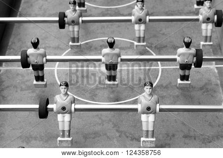 Black and white photo of old table football