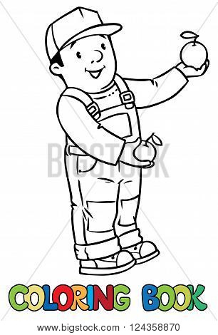 Coloring book of funny farmer or gardener in overall and baseball cap with apples in his hands. Profession series. Children vector illustration.