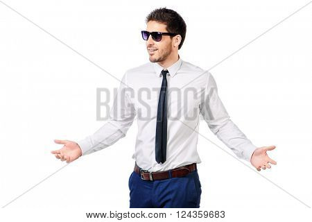Portrait of a friendly smiling businessman in white shirt. Men's beauty, fashion. Isolated over white.