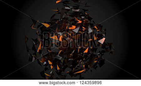 Abstract Shapes As Chaotic Explode Background.