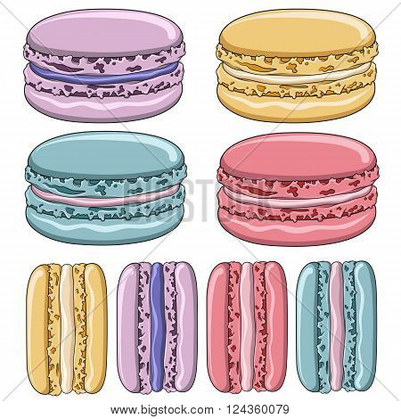 Set of colorful French macaroon cookies. Isolated objects on a white background