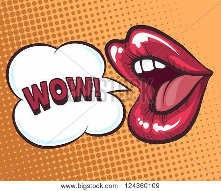 Mouth with speach bubble. Wow and female mouth in pop art style concept for advertising or poster. Vector illustration