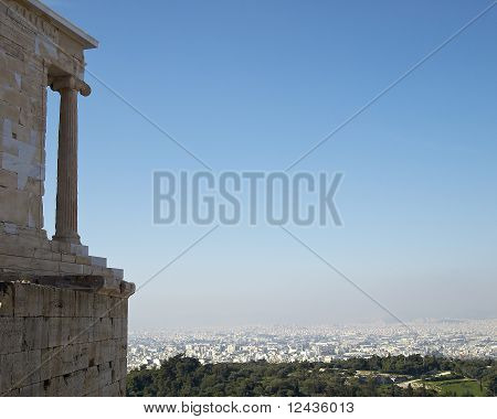 Athena Nike temple Acropolis and Athens cityscape Greece