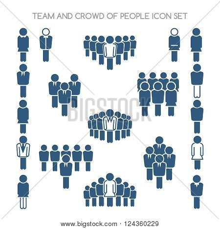Team and crowd signs. Team icons and crowd of people icons. Vector illustration