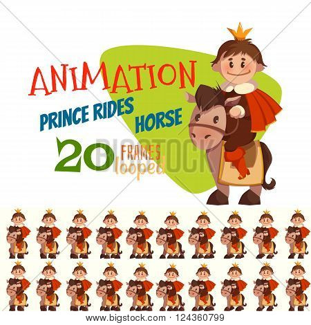 Vector illustration of horse with prince in flat style.