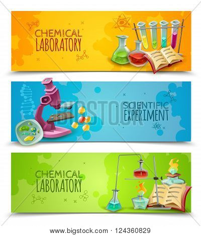 Chemical research laboratory equipment for scientific experiment 3 flat abstract horizontal banners set vector isolated illustration