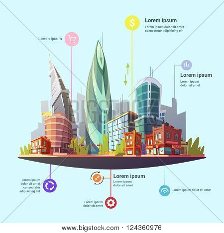 Modern capital city downtown office and residential buildings complex services concept infographic symbols poster abstract vector illustration