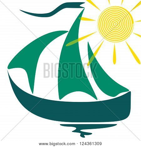 Childlike sail drawing of ship EPS10 - vector graphics.