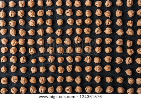 Chick-pea pattern background top, view, horizontal black