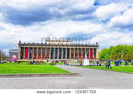 Berlin, Germany - April 29, 2013: Old Museum in Berlin in Germany. The Altes museum is a building which is placed on the Museum Island. It is one of the most known sites in Berlin and is under the UNESCO protection.