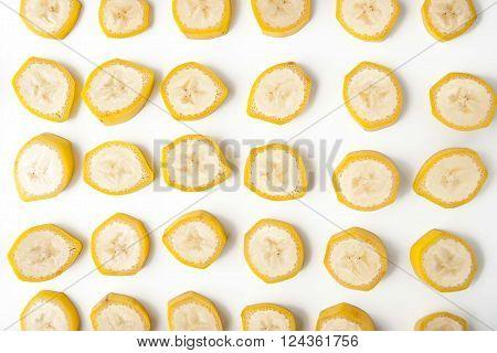 Sliced banana pattern horizontal table, background, yellow,
