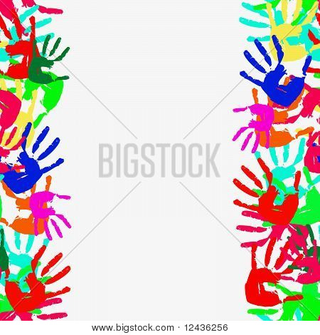 Grunge seamless frame from prints of hands