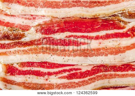 Streaky bacon background horizontal meat top view