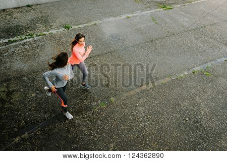 Female Athletes Running