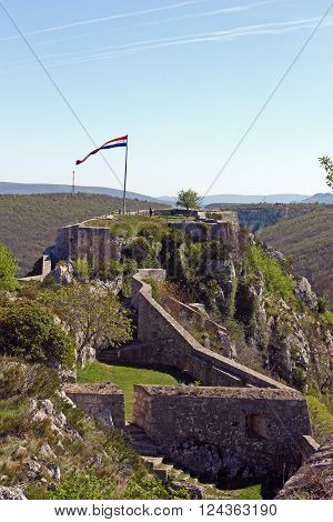 Part of the fortress of Knin second largest military fortification in the Europe city of Knin Croatia
