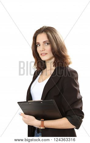 nice sure business woman. isolated on a white background