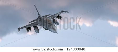 3d render of fighter jet in the sky