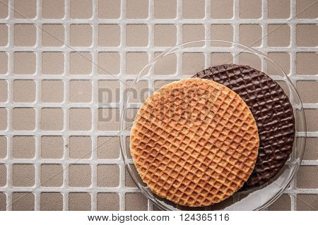 Wafers on the relief background top view