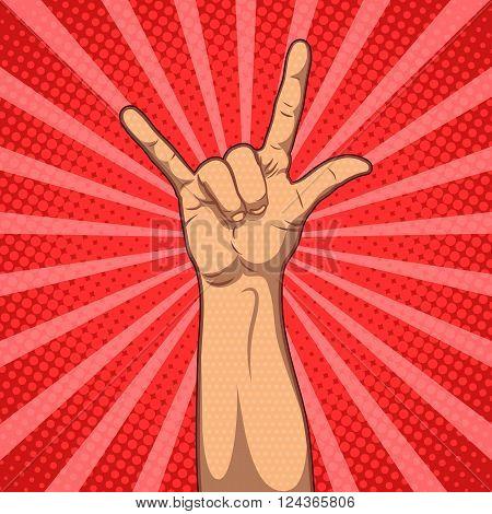 Hand in rock n roll sign, vector pop art illustration