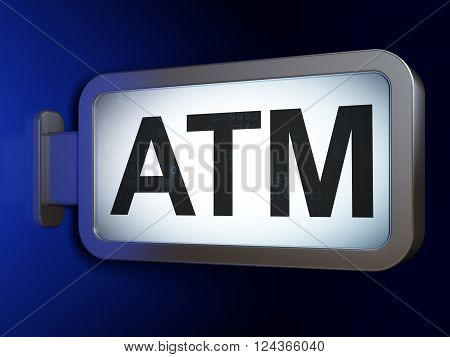 Money concept: ATM on billboard background