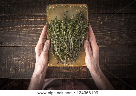 Old cook book with herbs in the hands top view