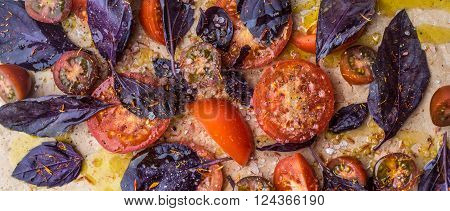 Tomatoes with salt and red basil wide screen