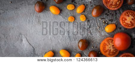 Tomatoes mix with seasoning on the stone table wide screen