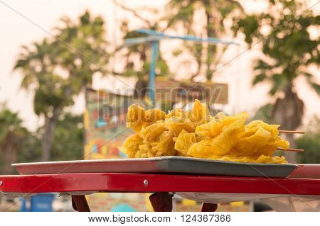 Asian food Fried Wonton appetizer with blur background