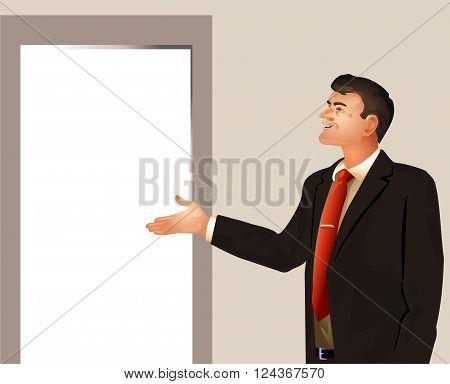 Vector illustration of a businessman invites enter