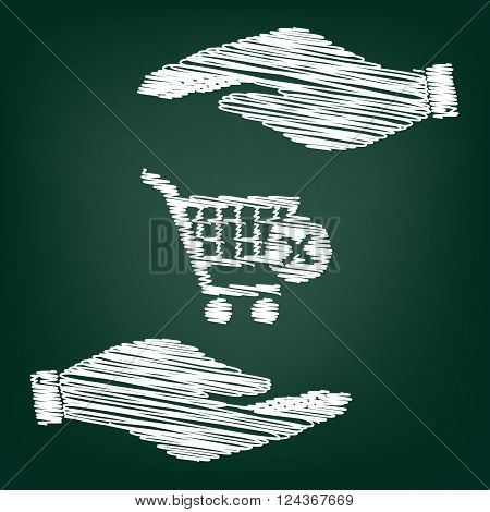 Shopping Cart and X Mark Icon, delete sign. Flat style icon with scribble effect