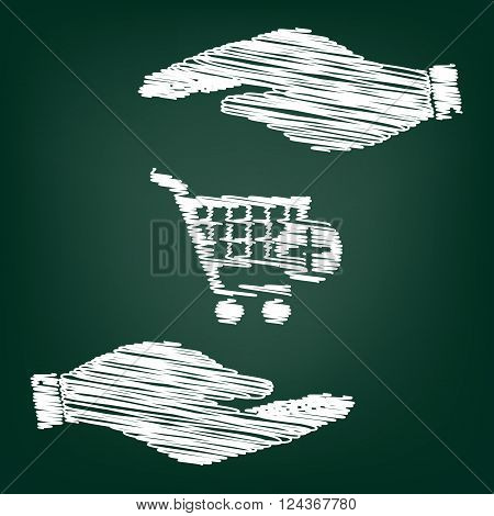 Shopping Cart and add Mark Icon. Flat style icon with scribble effect