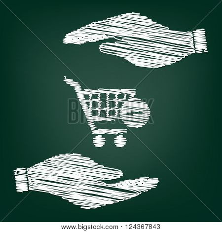 Vector Shopping Cart Remove from Cart Icon. Flat style icon with scribble effect