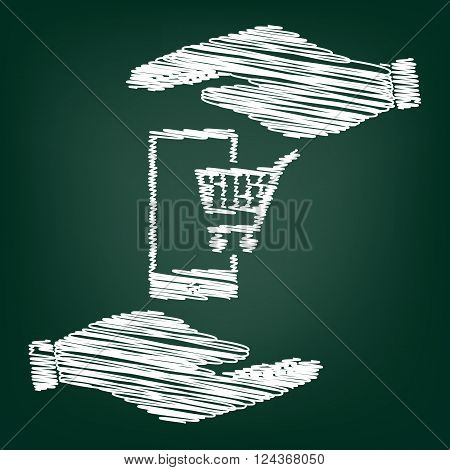 Shoping on smart phone sign. Flat style icon with scribble effect
