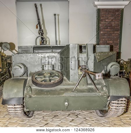 MOSCOW RUSSIA- DECEMBER 15 2015: Universal Carrier Mark 1(T 16). Canada. 1936-1948 at the Museum of technique V.Zadorozhnyj on December 15; 2015 in Moscow