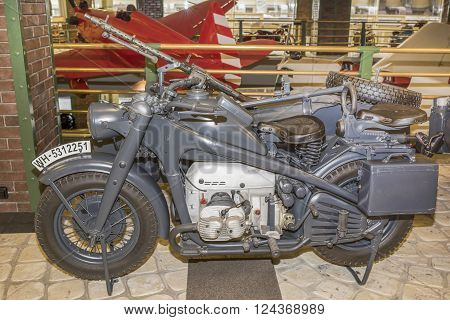 MOSCOW RUSSIA- DECEMBER 15- Motorcycle BMW R-12. Germany (1935-1942) at the Museum of technique V.Zadorozhnyj on December 15; 2015 in Moscow